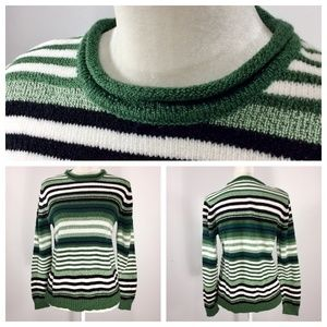 CarolynTaylor Sweater XL Green Black White M328